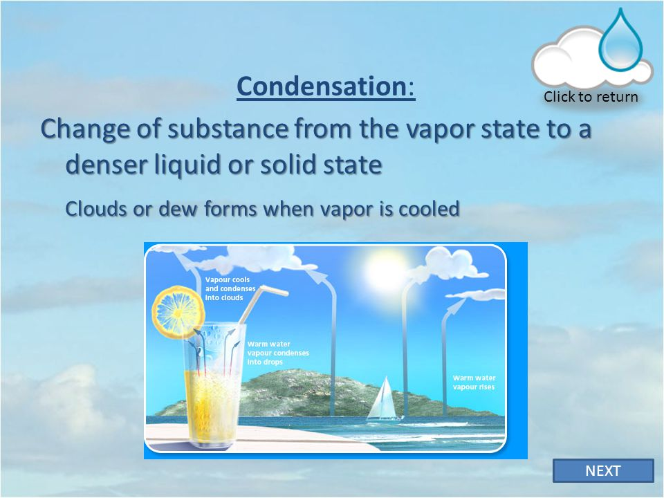 Click to return Condensation: Change of substance from the vapor state to a denser liquid or solid state.