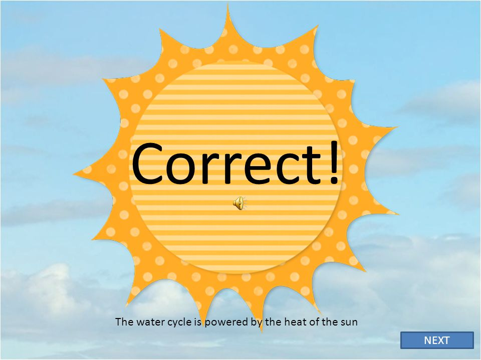 The water cycle is powered by the heat of the sun