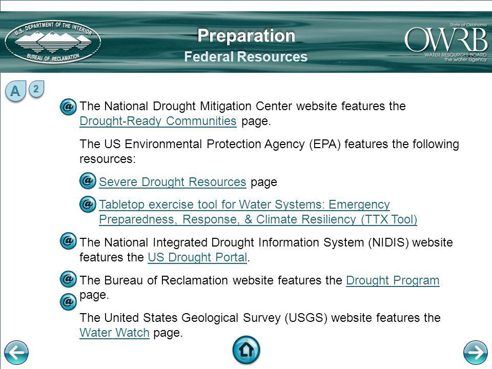 Preparation Federal Resources A