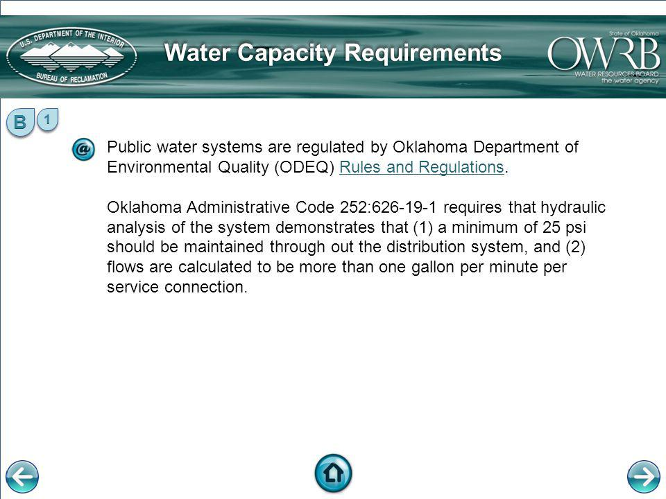 Water Capacity Requirements