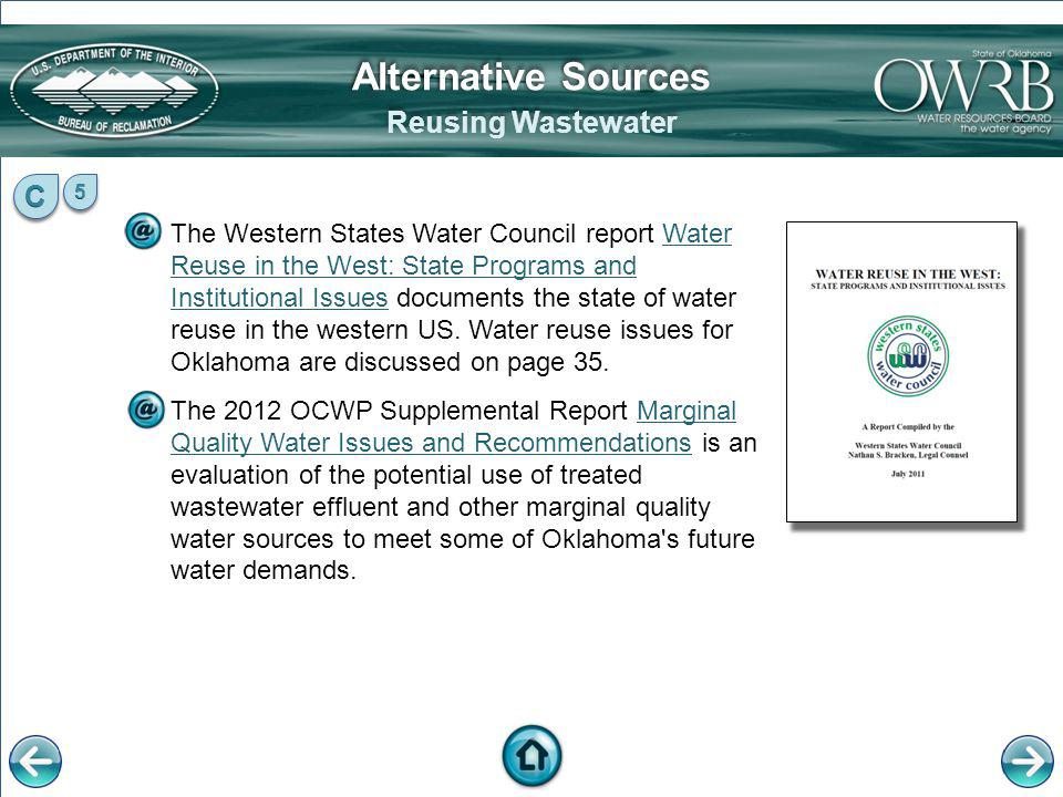 Alternative Sources Reusing Wastewater C