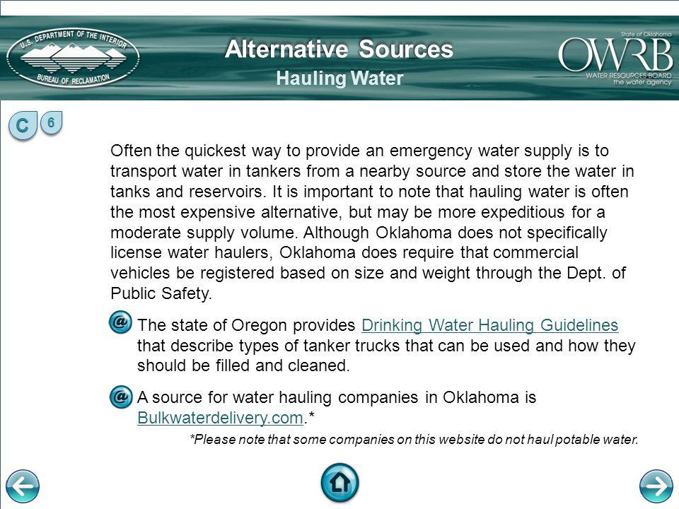 Alternative Sources Hauling Water C