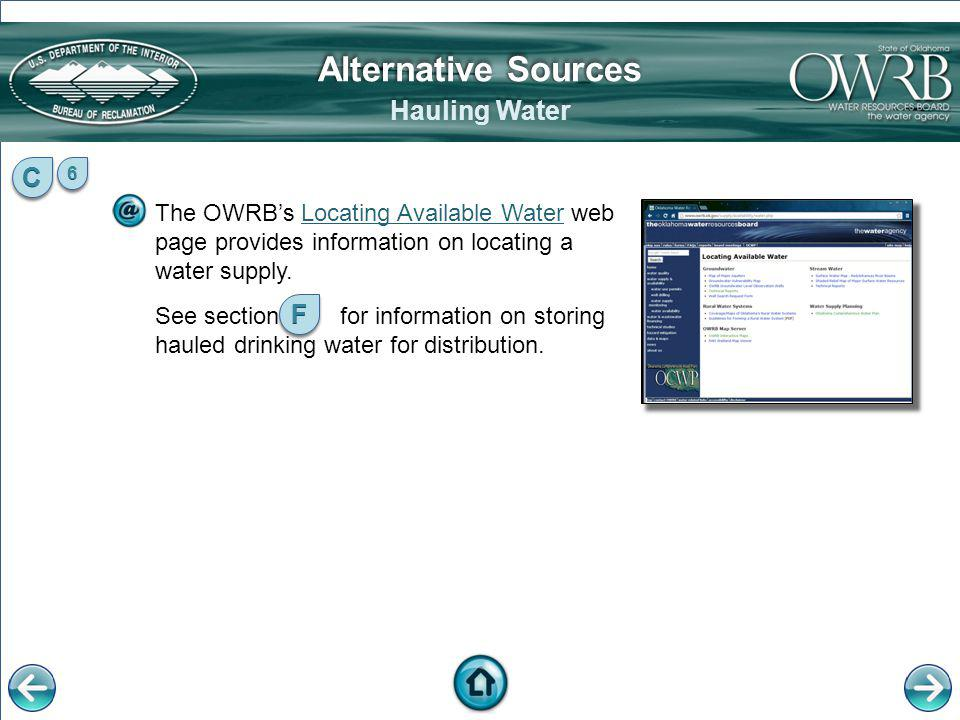 Alternative Sources Hauling Water C F
