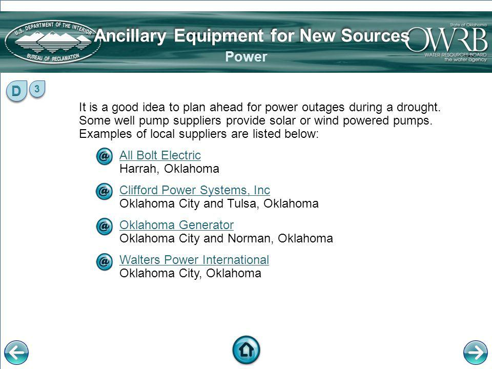 Ancillary Equipment for New Sources