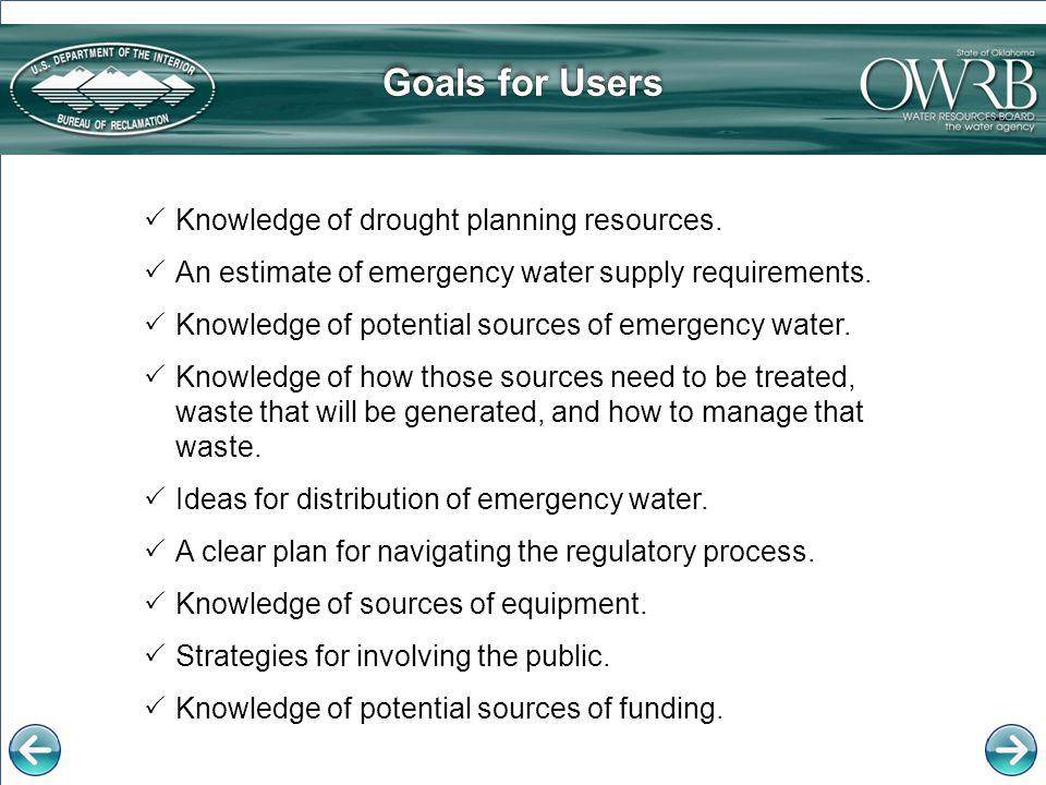 Goals for Users Knowledge of drought planning resources.