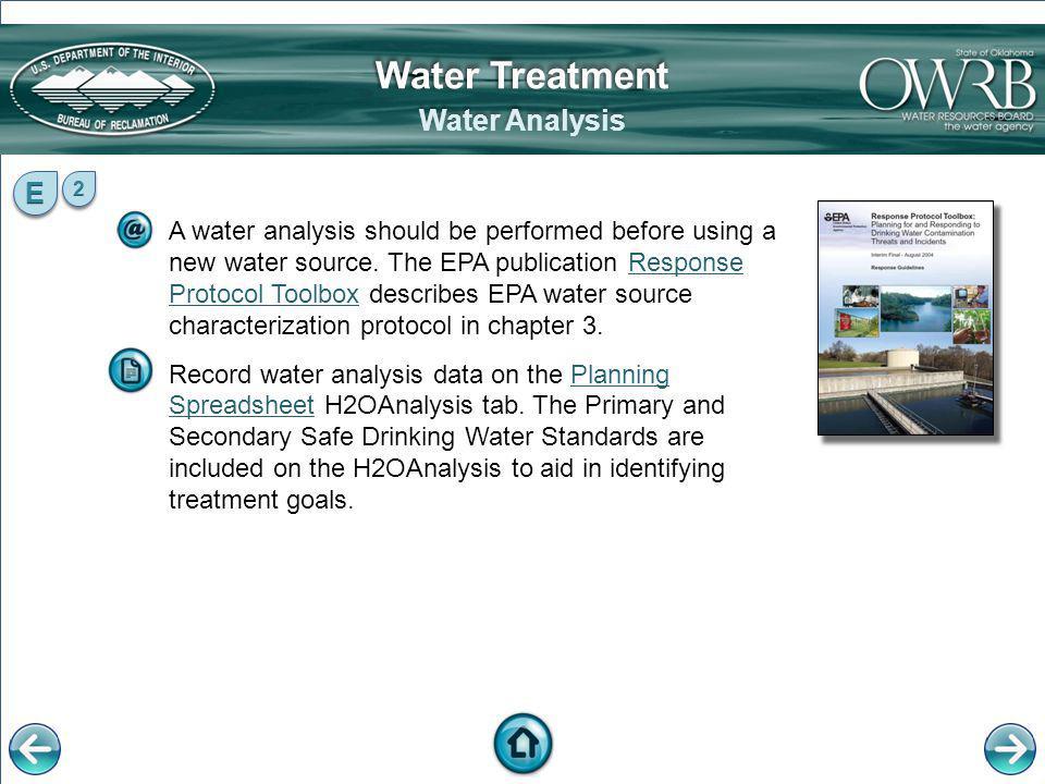 Water Treatment Water Analysis E