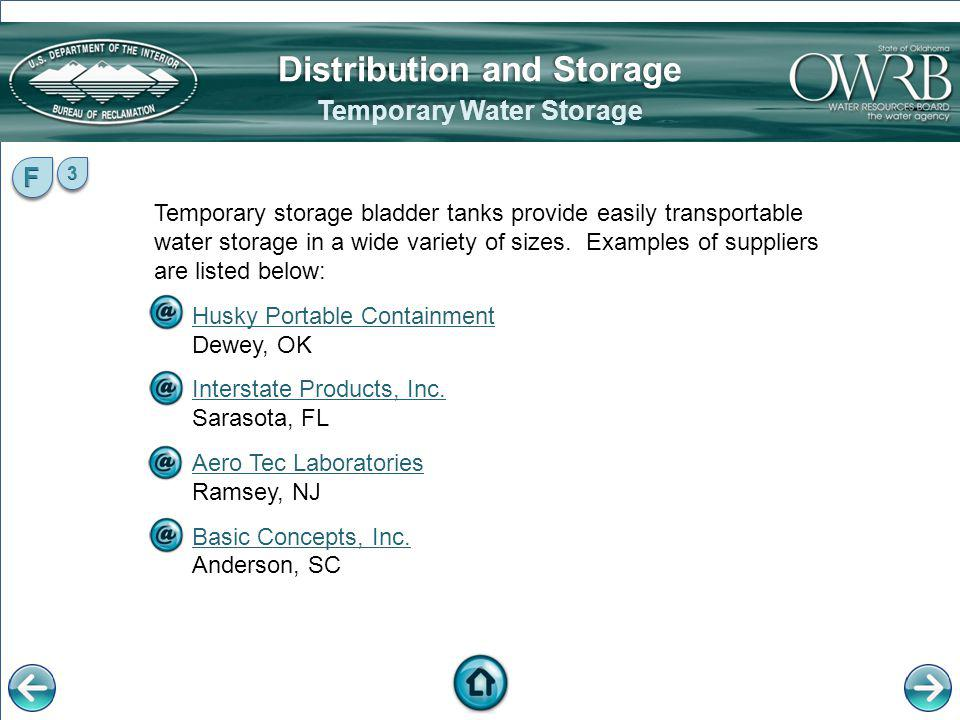 Distribution and Storage Temporary Water Storage