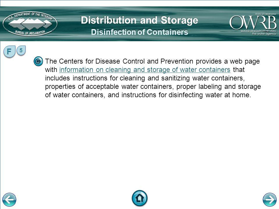 Distribution and Storage Disinfection of Containers