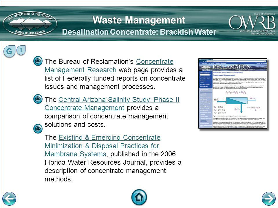 Desalination Concentrate: Brackish Water