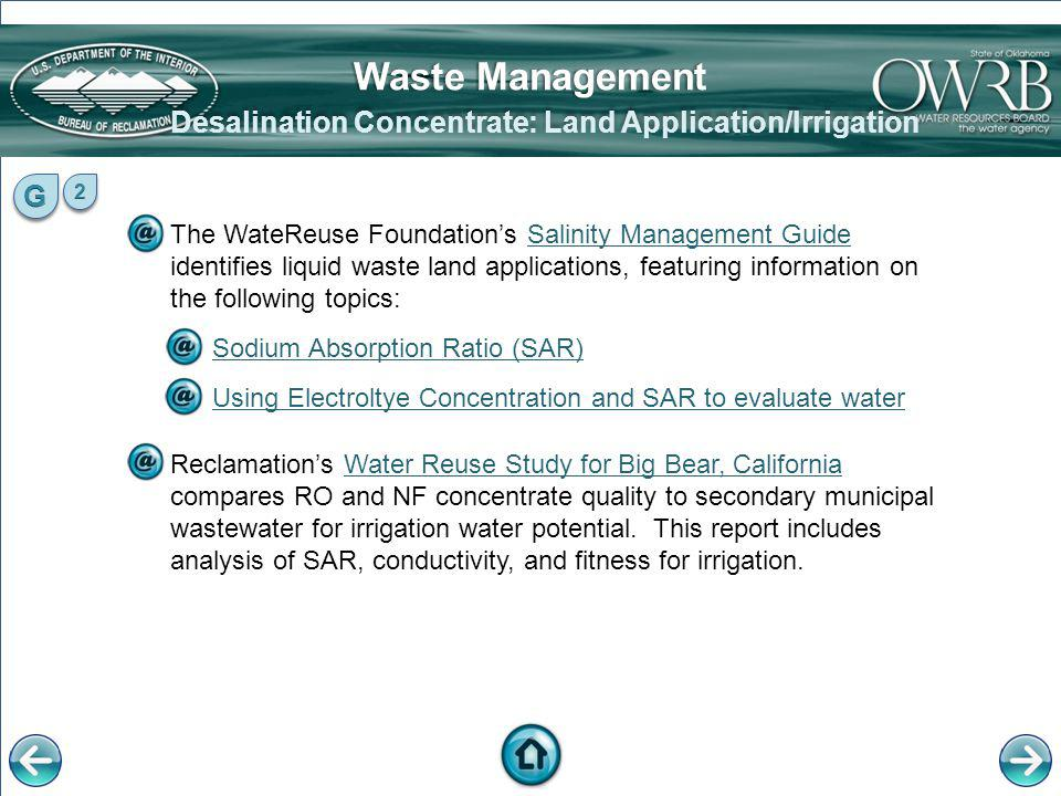 Desalination Concentrate: Land Application/Irrigation