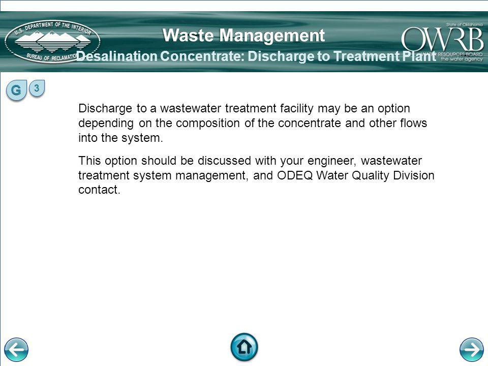 Desalination Concentrate: Discharge to Treatment Plant