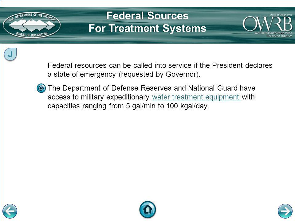 Federal Sources For Treatment Systems