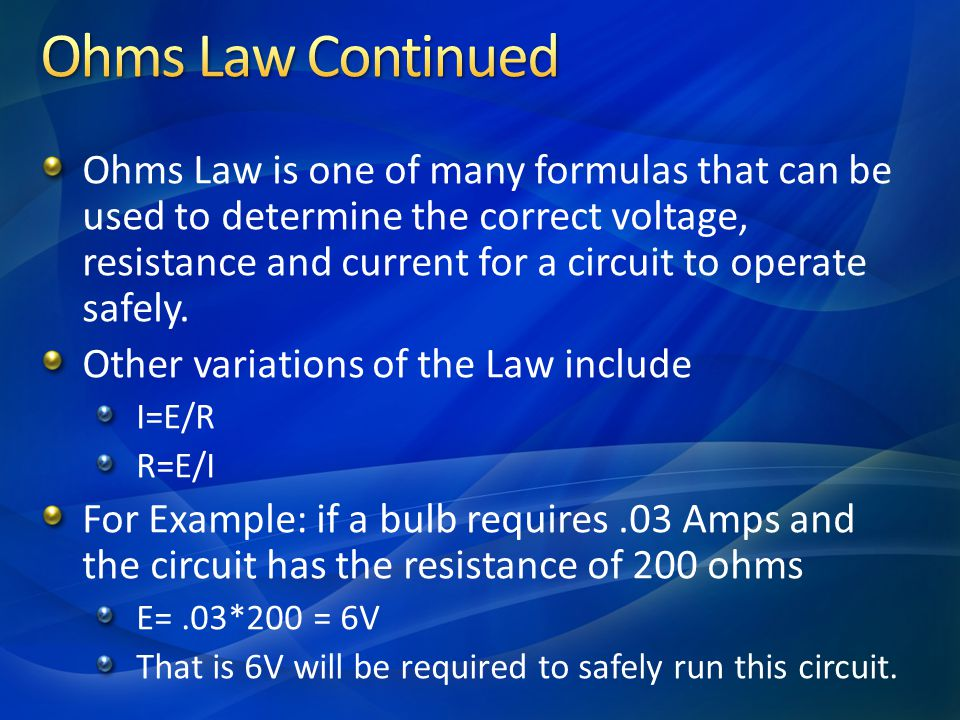 Ohms Law Continued