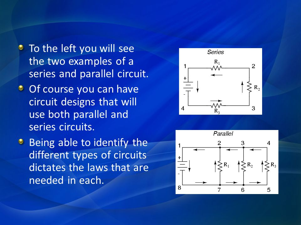 To the left you will see the two examples of a series and parallel circuit.
