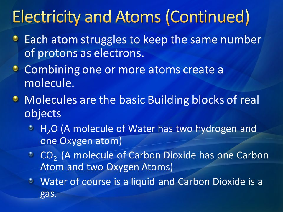 Electricity and Atoms (Continued)