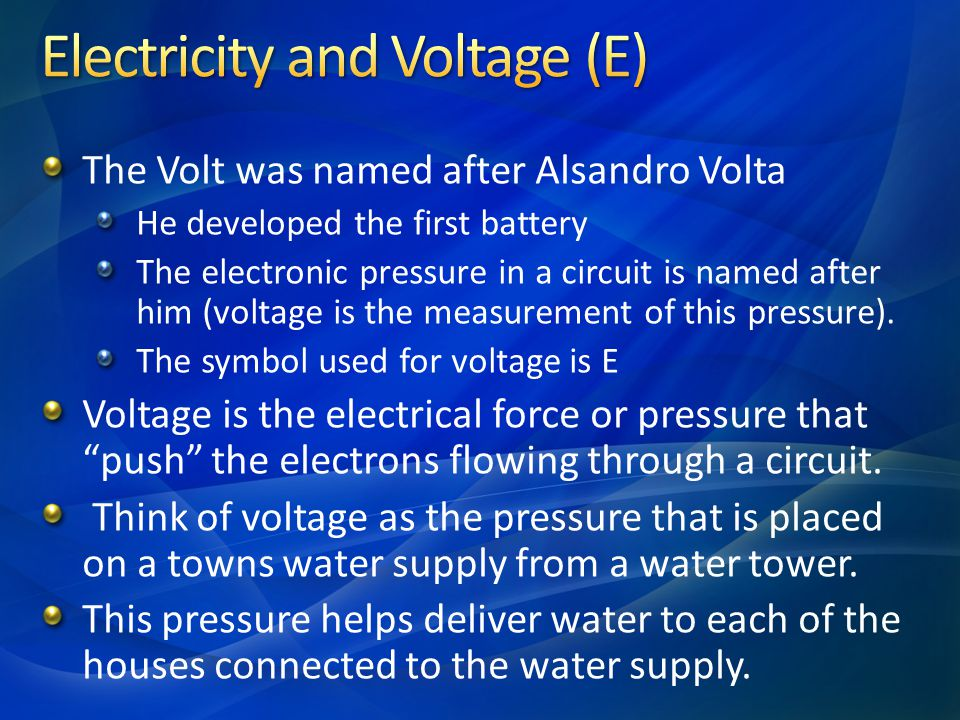 Electricity and Voltage (E)