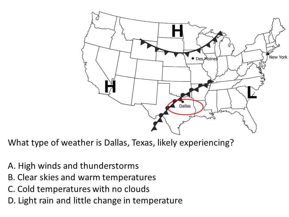 What type of weather is Dallas, Texas, likely experiencing