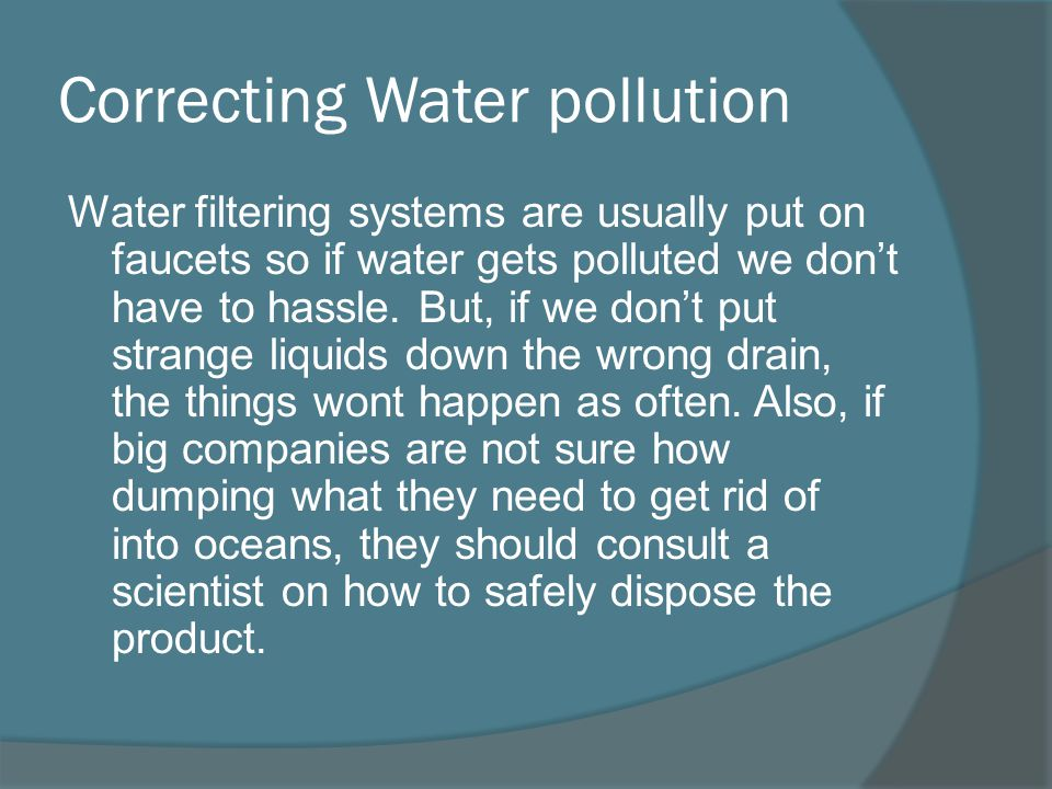 Correcting Water pollution