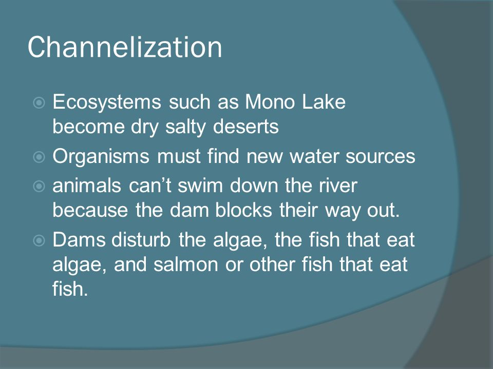 Channelization Ecosystems such as Mono Lake become dry salty deserts