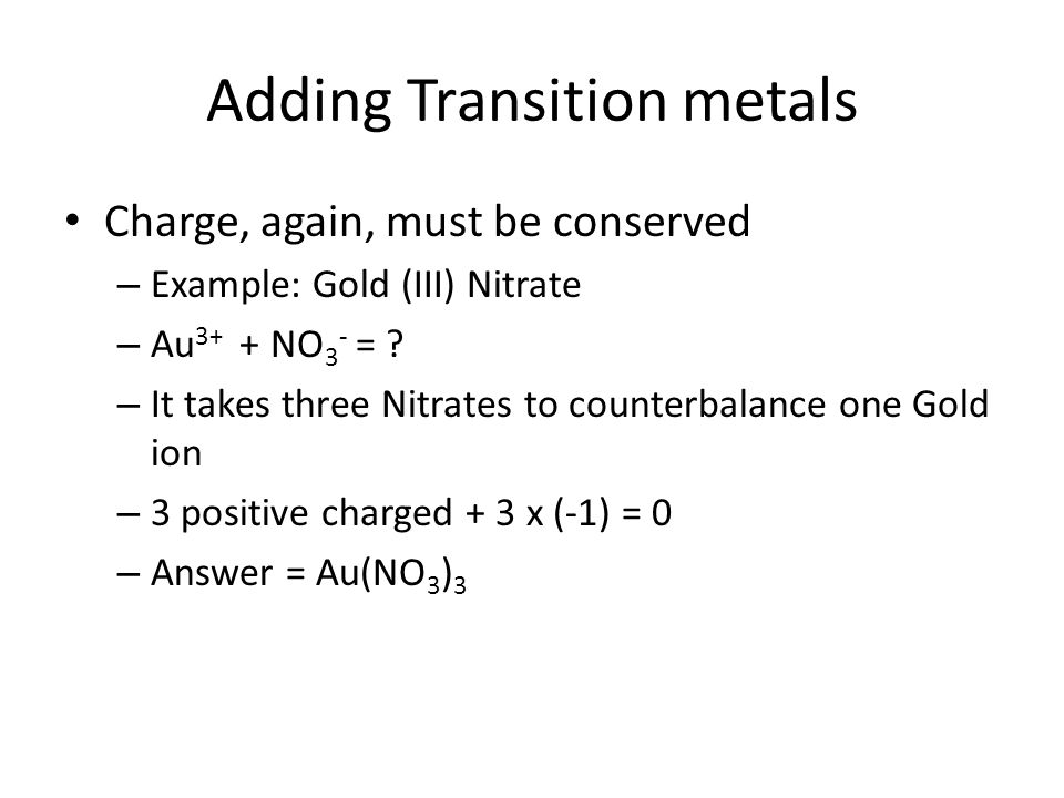 Adding Transition metals