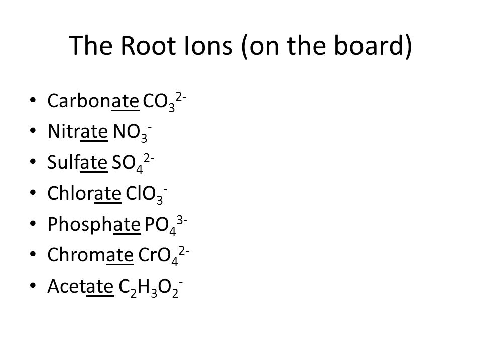 The Root Ions (on the board)