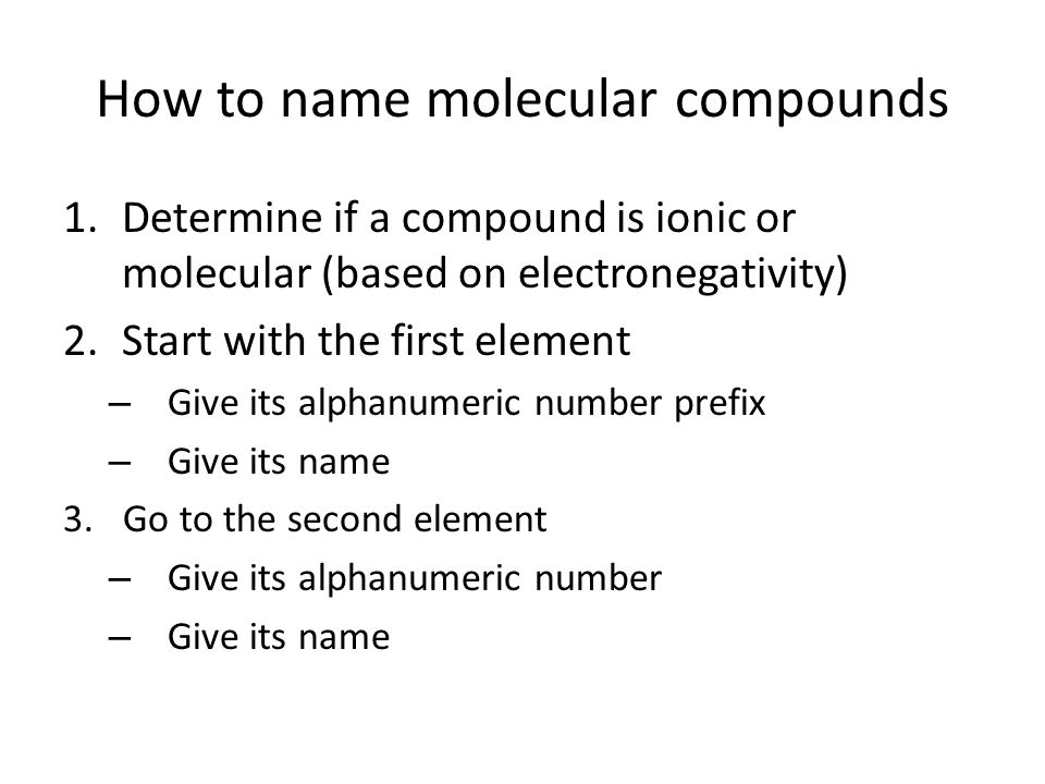 How to name molecular compounds