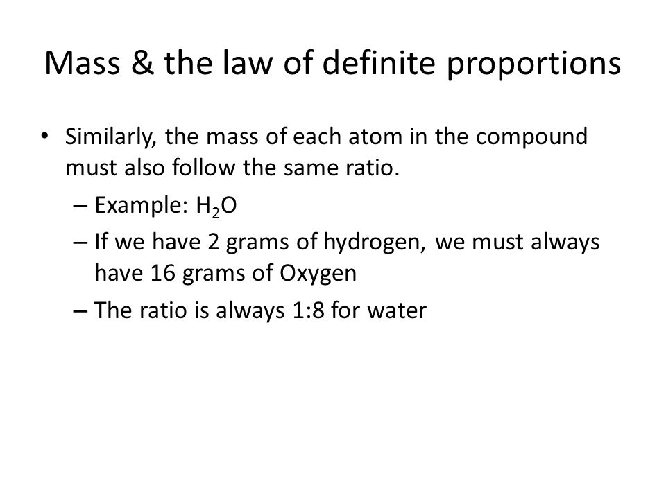 Mass & the law of definite proportions