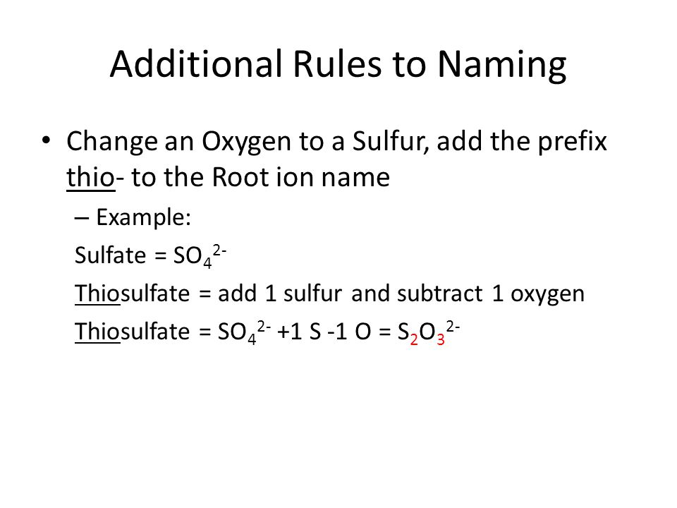 Additional Rules to Naming