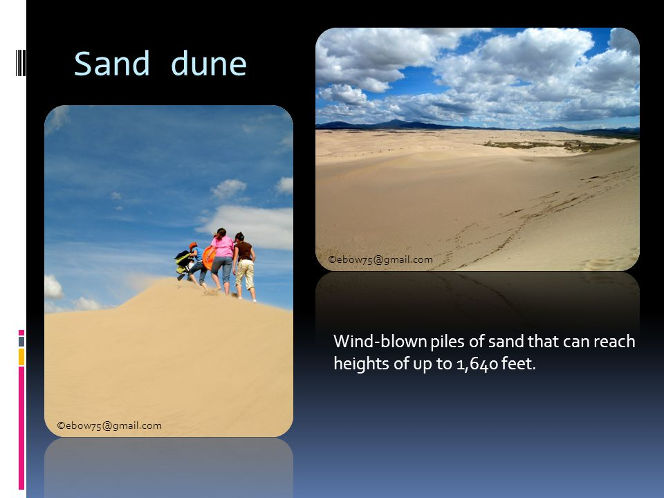 Sand dune Wind-blown piles of sand that can reach