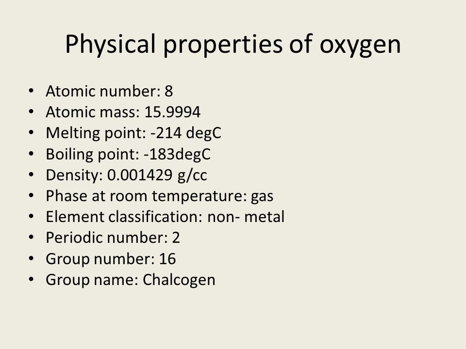 Physical properties of oxygen