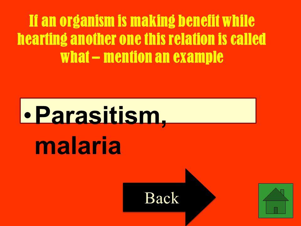 Parasitism, malaria Back