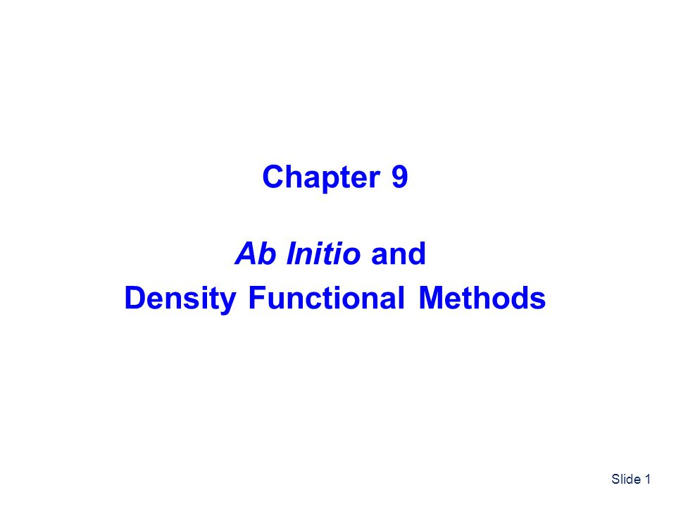 Density Functional Methods