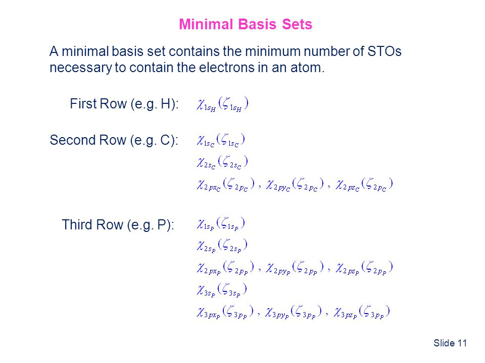 Minimal Basis Sets A minimal basis set contains the minimum number of STOs. necessary to contain the electrons in an atom.