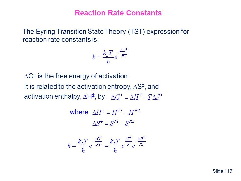 Reaction Rate Constants