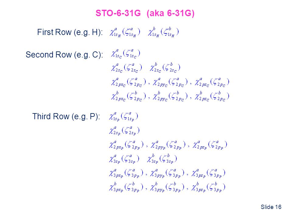 STO-6-31G (aka 6-31G) First Row (e.g. H): Second Row (e.g. C):