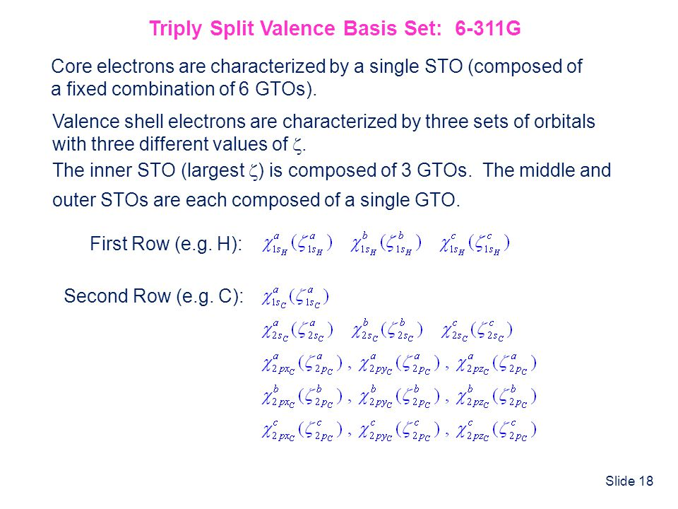 Triply Split Valence Basis Set: 6-311G