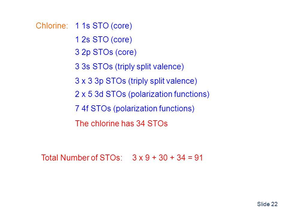 Chlorine: 1 1s STO (core) 1 2s STO (core) 3 2p STOs (core) 3 3s STOs (triply split valence) 3 x 3 3p STOs (triply split valence)