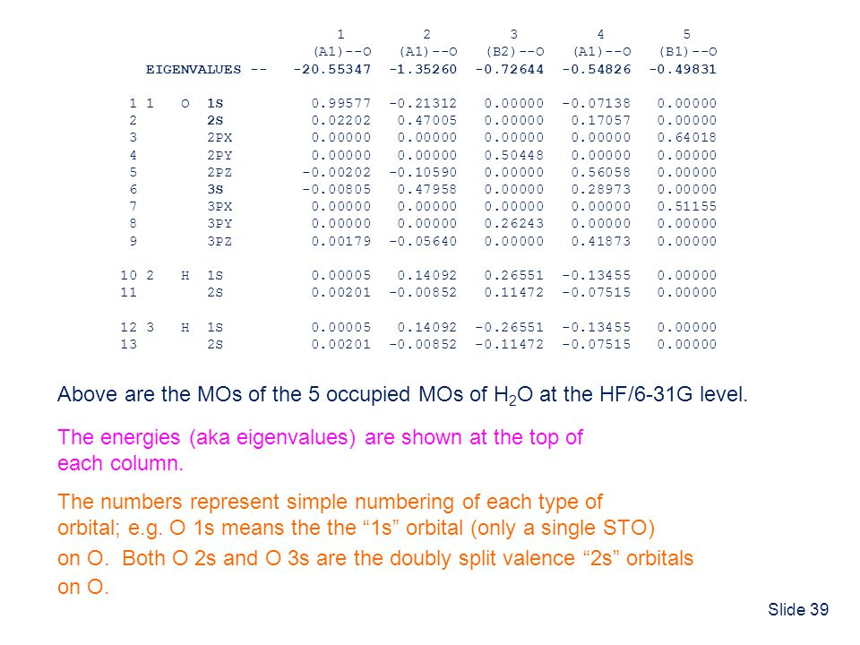 Above are the MOs of the 5 occupied MOs of H2O at the HF/6-31G level.