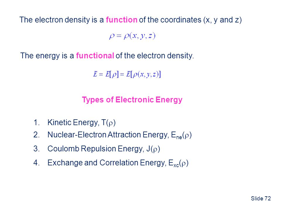 The electron density is a function of the coordinates (x, y and z)