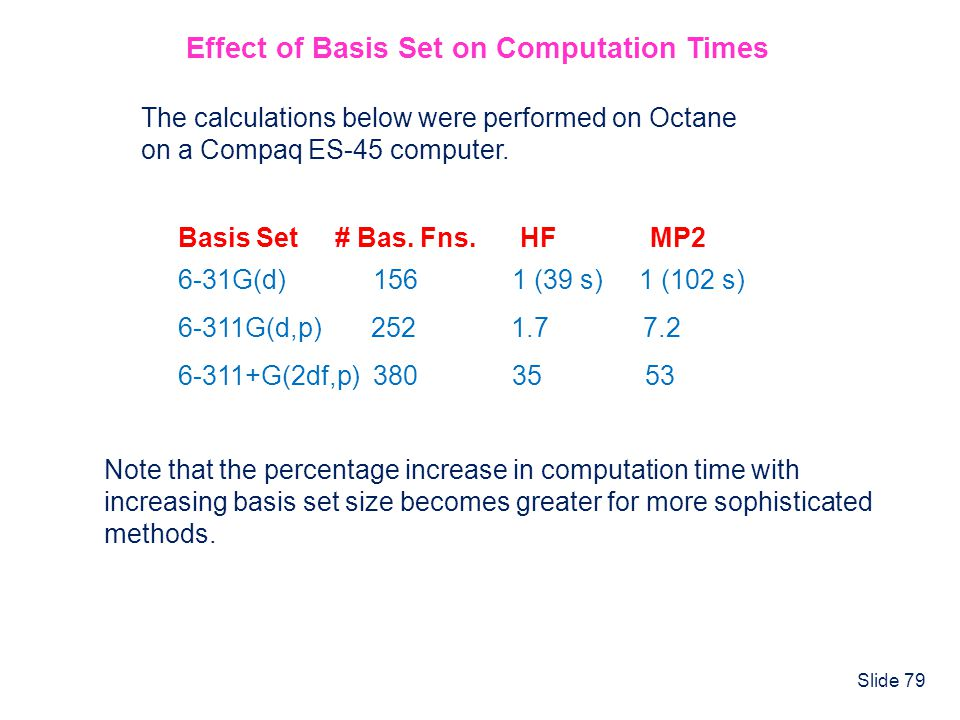 Effect of Basis Set on Computation Times