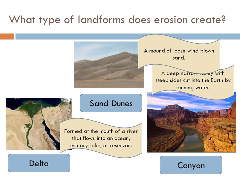 What type of landforms does erosion create