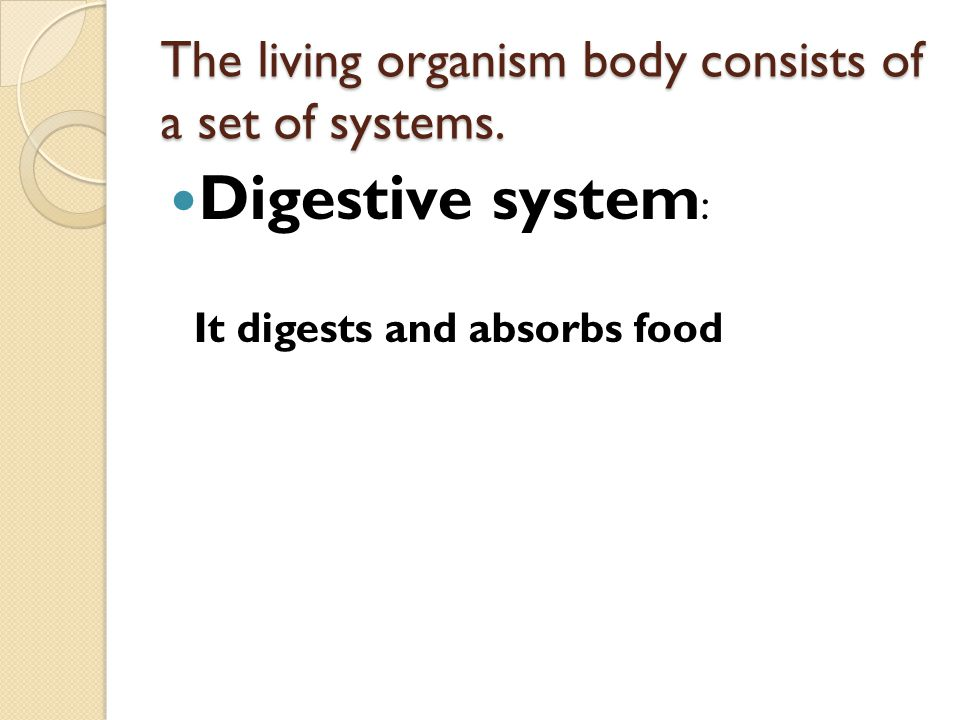 The living organism body consists of a set of systems.