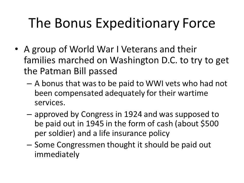The Bonus Expeditionary Force