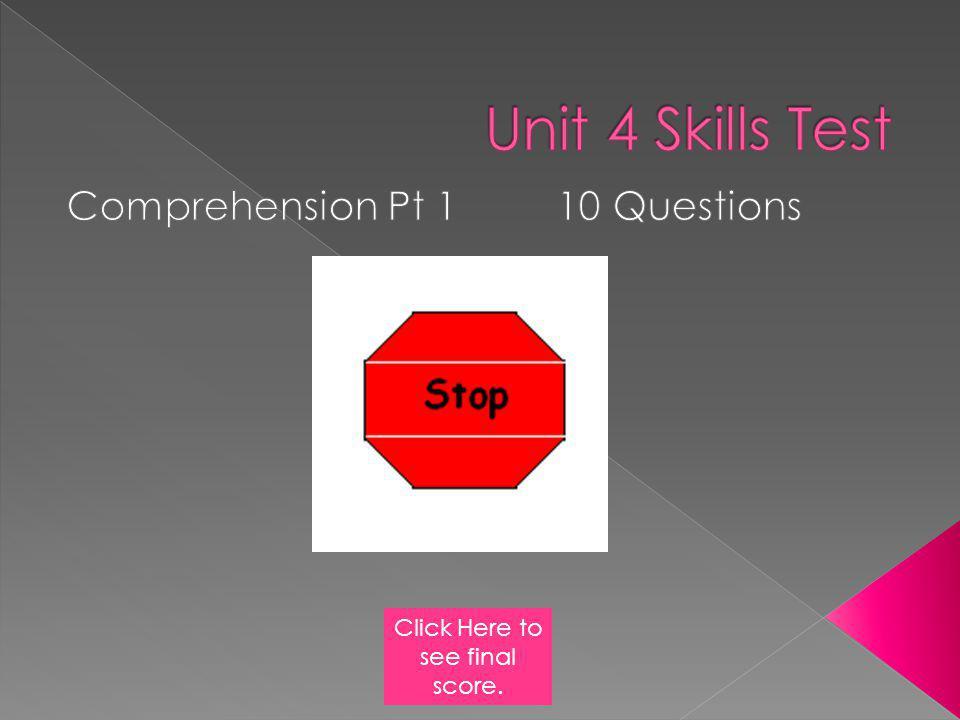 Comprehension Pt 1 10 Questions