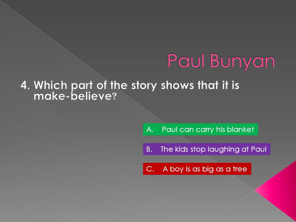 4. Which part of the story shows that it is make-believe