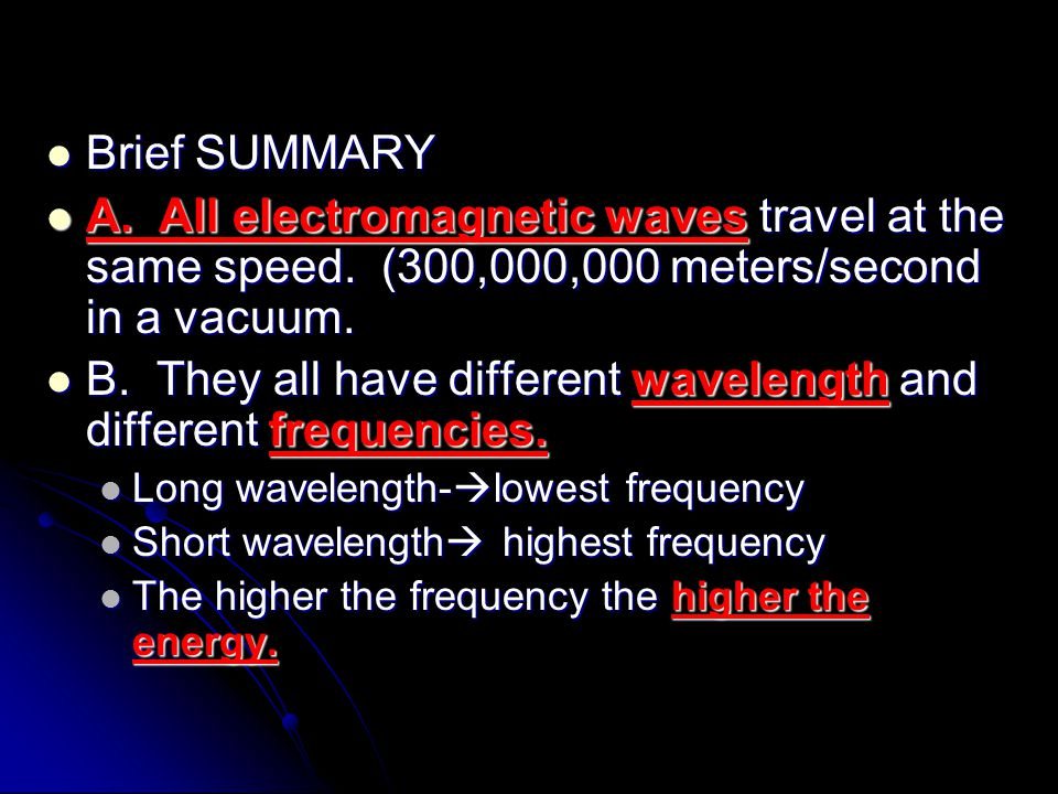 B. They all have different wavelength and different frequencies.