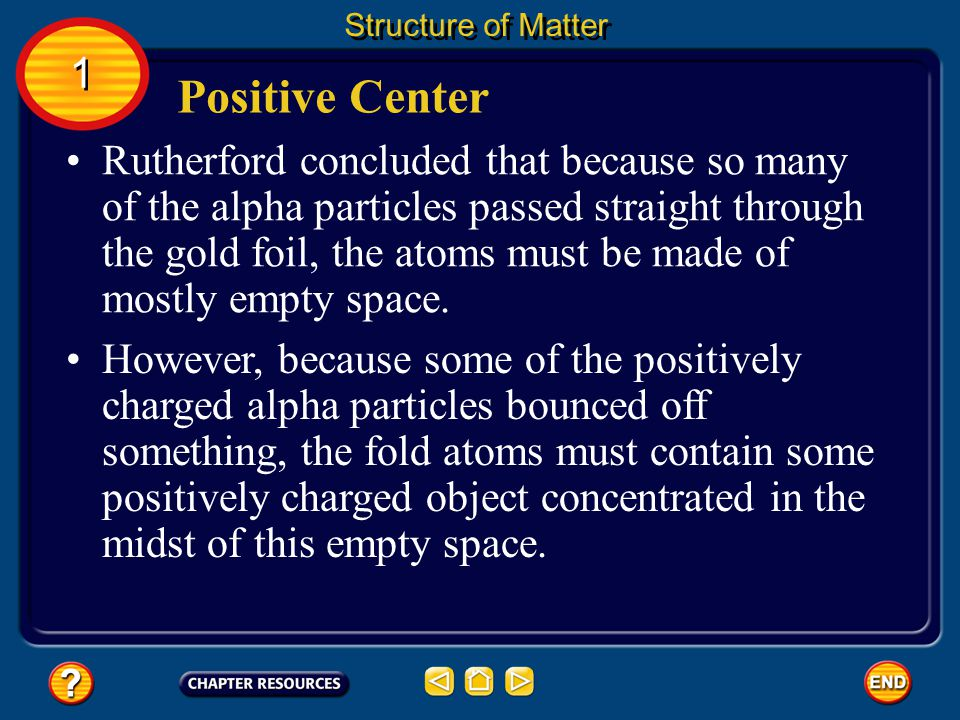 Structure of Matter 1. Positive Center.