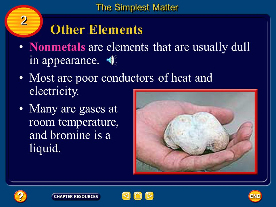 The Simplest Matter 2. Other Elements. Nonmetals are elements that are usually dull in appearance.