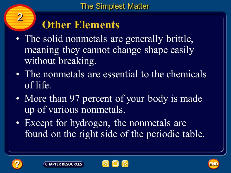 The Simplest Matter 2. Other Elements. The solid nonmetals are generally brittle, meaning they cannot change shape easily without breaking.