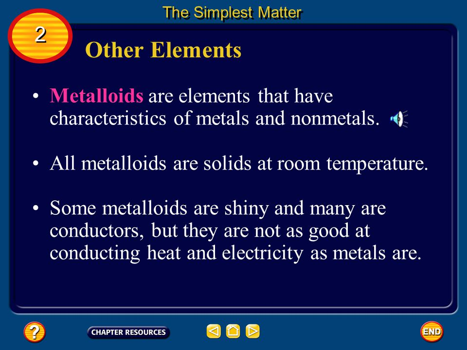 The Simplest Matter 2. Other Elements. Metalloids are elements that have characteristics of metals and nonmetals.